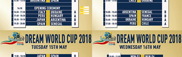 Dream World Cup 2018, il calendario completo: si parte con Italia-Cile