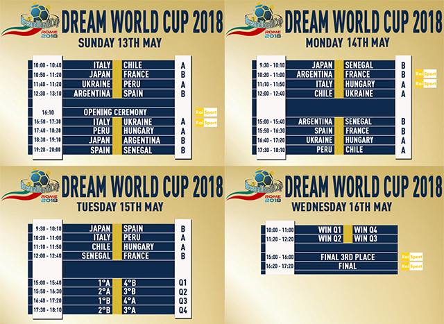 Dream World Cup 2018, il calendario completo: si parte con Italia-Cile